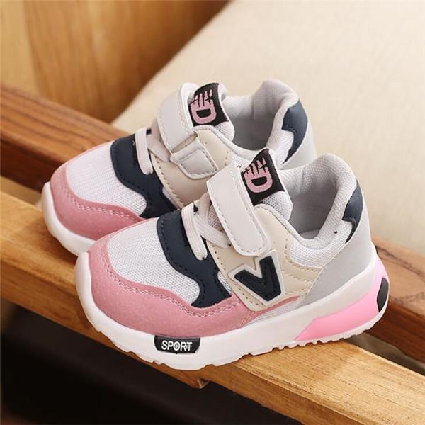 نمط جديد للأطفال أحذية الوردي + رمادي تنفس أحذية رياضية مريحة احذية الاطفال بنين بنات طفل الطفل أحذية