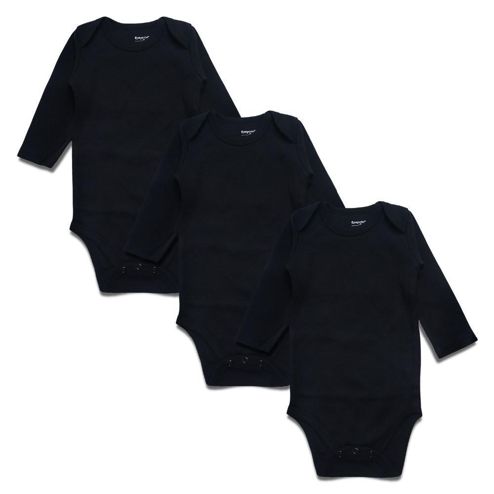 Новорожденный боди черный 3 шт 100% хлопок с длинным рукавом место унисекс Детские боди для мальчиков девочек 0-24 месяцев Детская одежда MX190720