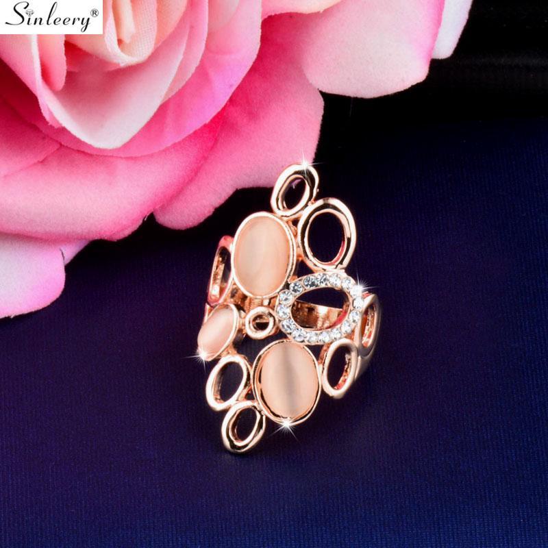 Синевой мода большой круглый Opal шаттл пустые кольца для женщин свадебные вечеринки Размер ювелирных изделий 6 7 8 9 10 Rose Gold Color JZ483 SSH