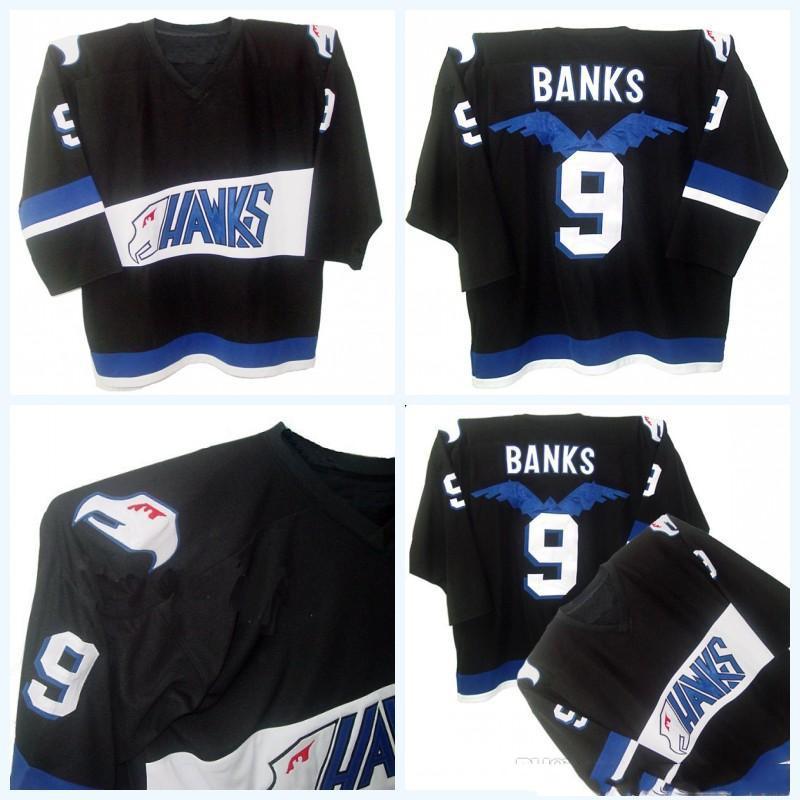 Mighty Ducks Film Jersey Hawks Adam Banken # 9 Männer 100% genähte Stickerei Logos Hockey-Trikots Schwarz Schnelles Verschiffen