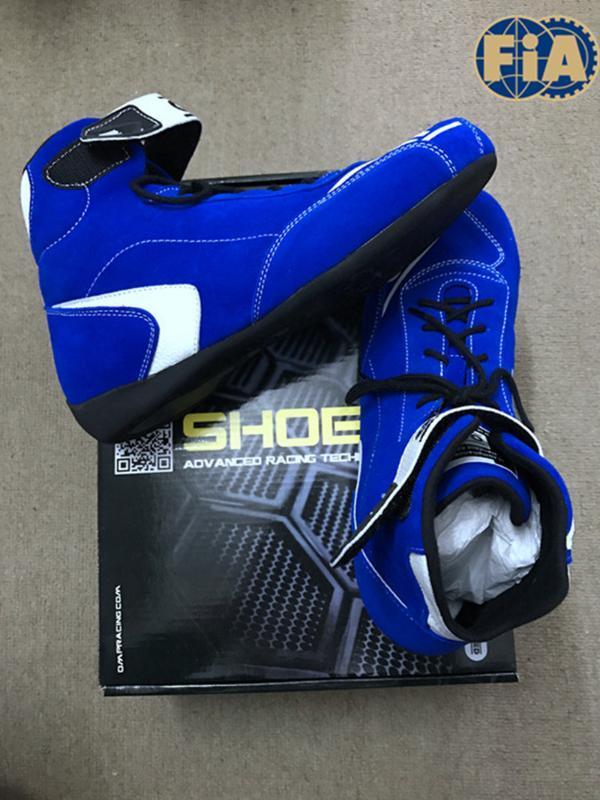 Высокое качество синий цвет F1 гоночный автомобиль обувь для гонки соревнований FIA 8856-2000
