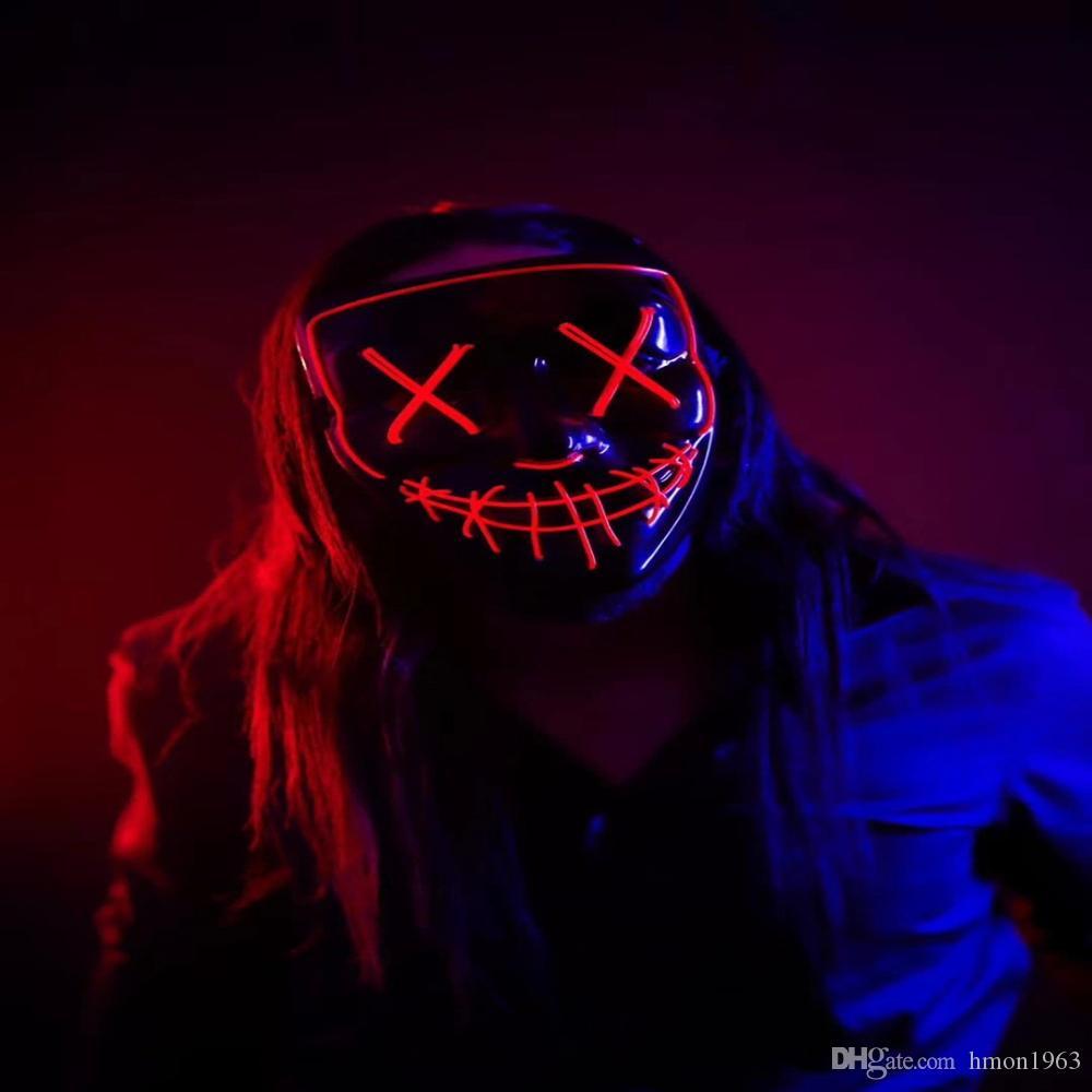 Glow В Dark Hot Halloween Неон маска светодиодные вверх маска Purge маска Бесплатная доставка