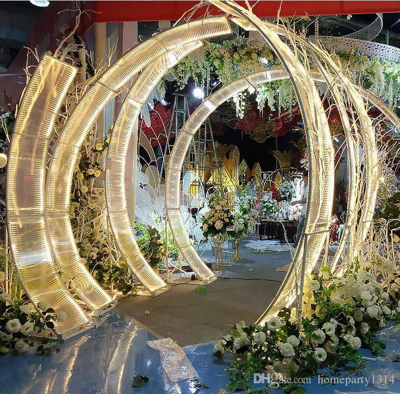 Ferro de Luxo Sunshine Board Casamento Arcos Grande Evento Partido Backdrops Adesivos T-Stage Grande Arco Arco Chumbo Estrada De Casamento Flor De Parede Suporte