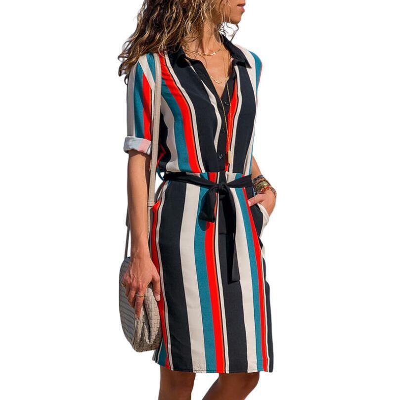 Frauen beiläufige gestreifte Druck-A-line Kleider langes halbes Hülsen-Hemd-Kleid 2019 neuer Sommer-Chiffon- Boho Strand kleidet geometrisches Kleid Vestidos