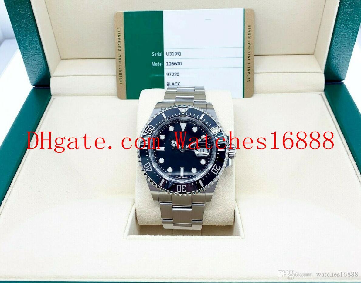 무료 배송 홍해 거주자의 43mm 블랙 세라믹 스테인레스 스틸 자동 기계 운동 시계 126600 남자의 시계 상자