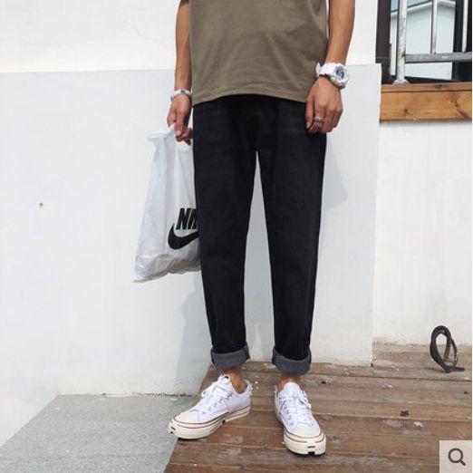 Black Han Edition Leisure Nine Minutes Of Pants Jeans Men Loose Fashion Popular Logo Straight Jeans