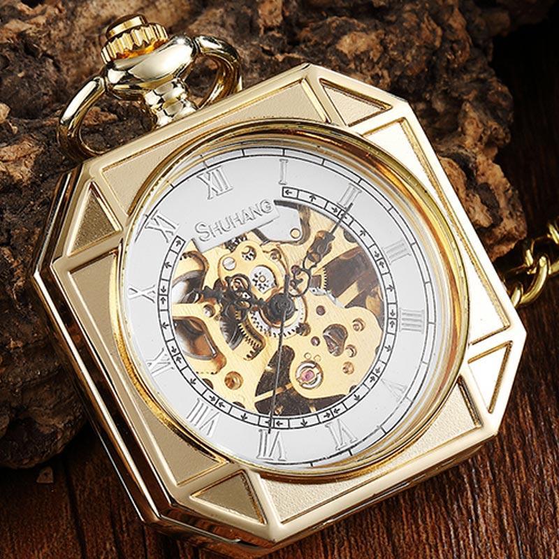 Collana della vigilanza di Fob Piazza oro Vintage scheletro Pocket Watch Vento meccanico della mano di lusso con la catena per gli uomini Wome Gifts
