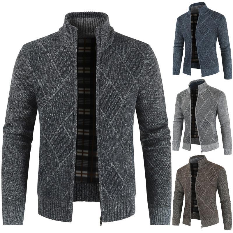 Sfit 2020 Hommes Cardigan Automne Col Zipper stand Tricoté Casual Sweatercoat Manteaux hommes vêtements chauds Toison tricot