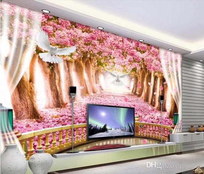 Papel de pared 3D para sala de estar Foto personalizada Balcón creativo Flor de cerezo avenida Fondo de TV Murales de pared 3D papel tapiz para paredes 3 d