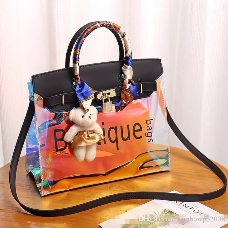 wholesale women handbag high quality summer new jelly bag large capacity contrast color women shoulder bags fashion laser transparent bag
