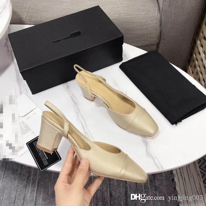 Apricot coloured Baotou high heel sandals with low upper tip and shallow mouthPearl heel sandals simple single slippers