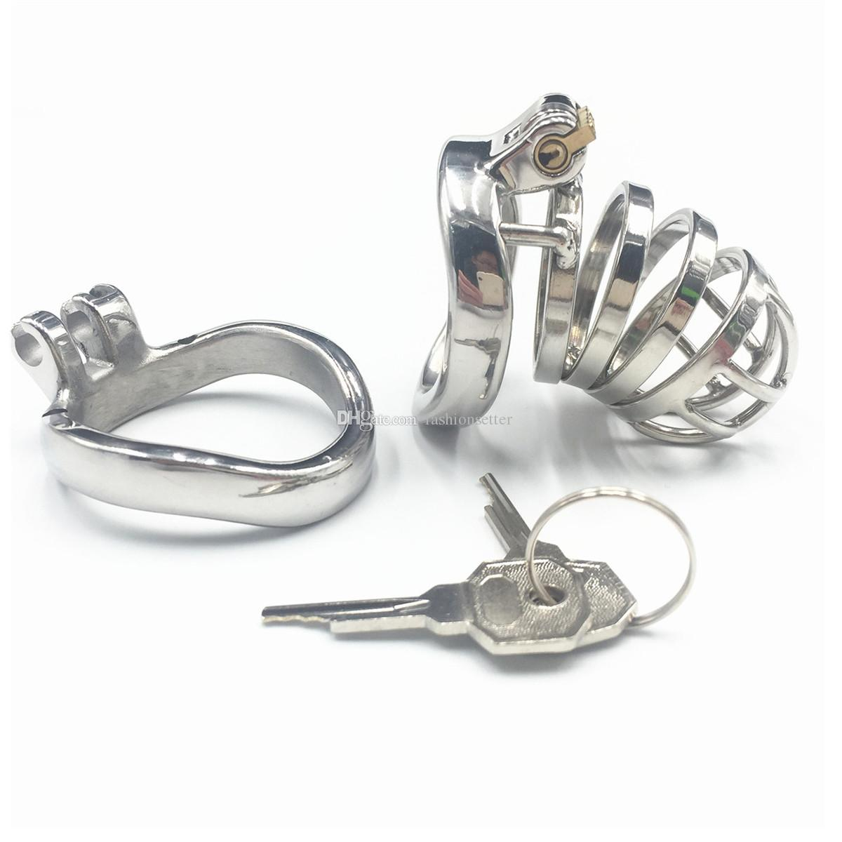 Easy to pee design device full length 65mm metal cock cage with extra 45mm base ring 304# stainless steel chastity devices for men