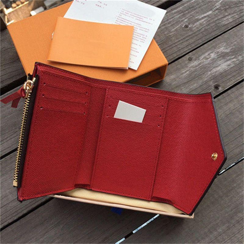 2020 فاخرة عالية الجودة ماركة جديدة جلد المرأة محفظة hasp القصيرة حامل بطاقة عملة حقيبة صغيرة حقيبة بطاقة ائتمان حمراء