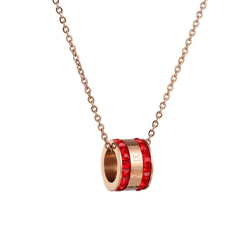 JIOROMY de oro rosa de Roma Números joyería por Cristal Collar colgante de acero de titanio mujeres Círculo regalos de un chica Gargantillas Collares