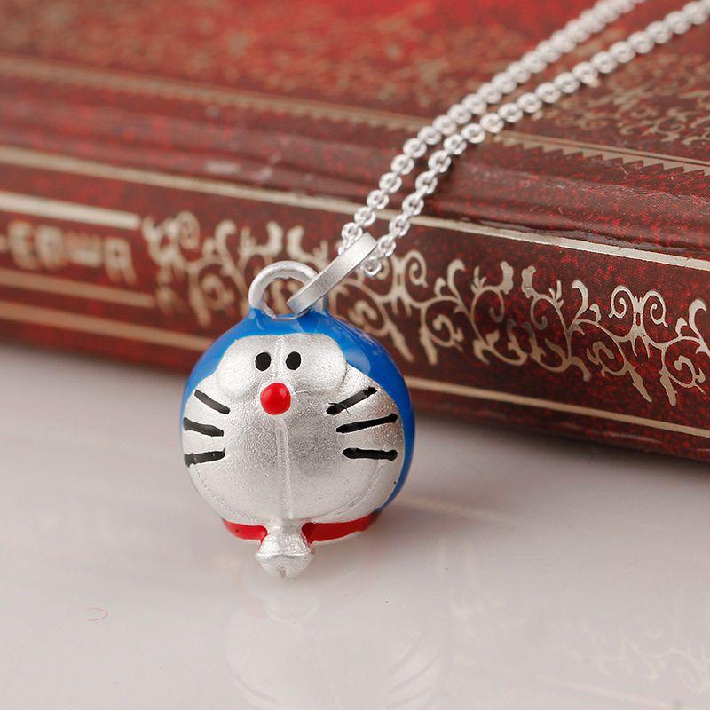 Kadınlar X için zarif Mavi Doraemon Karikatür Makinası Kedi 925 Gümüş Kolye kolye Bildirimi Kolye kolye Boyalı Takı