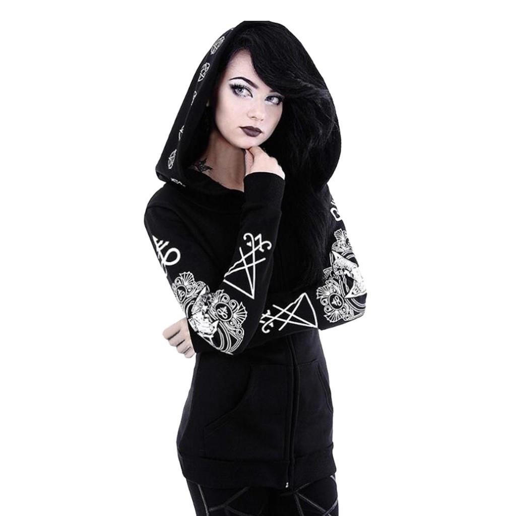 Artı boyutu 2019 Kadınlar Vintage serseri Uzun Ceket Palto Ceket Bayan Gothic Punk Uzun Kol Kapşonlu Baskı Hırka Ceket Kaban # 713