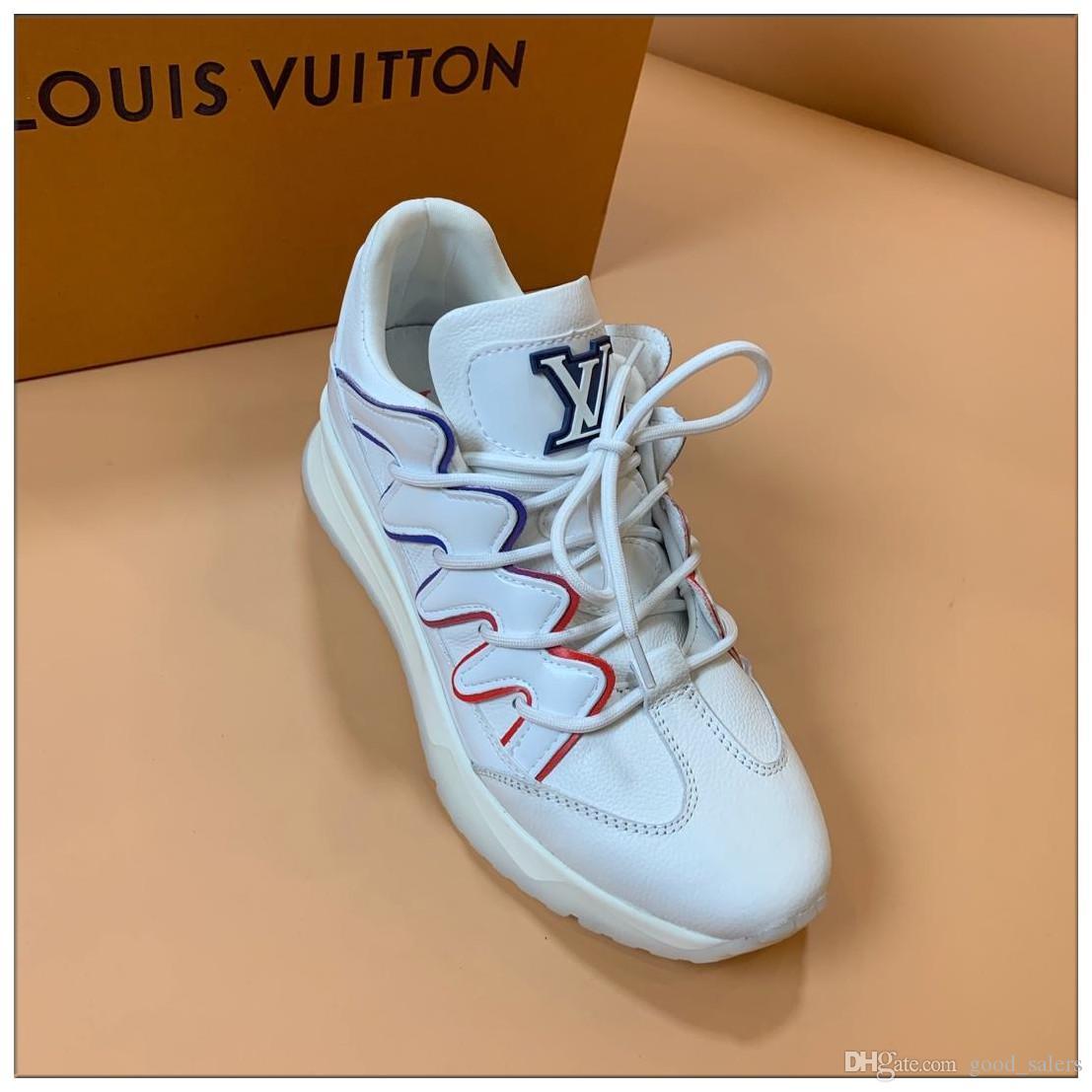 Baskı Ayakkabı En İyi Kalite Gri Beyaz ACE İşlemeli Erkek Gerçek Deri Tasarımcılar Sneakers Üst Kalite Günlük Ayakkabılar Boyut 38-45