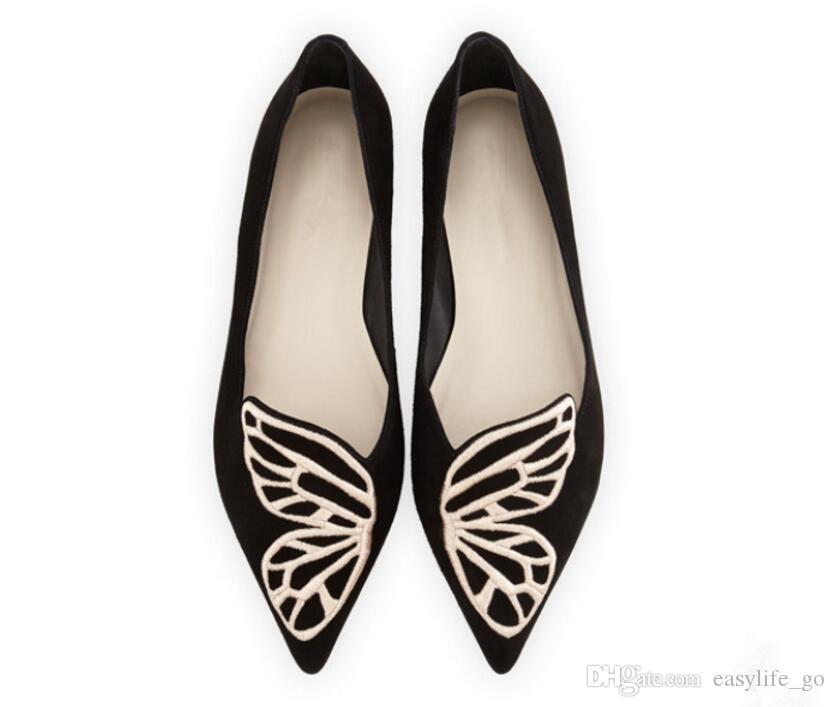 Zapatos Muj Sophia Webster Bibi Flats Kelebek Ayakkabı Kadın Oxford Düz Işlemeli Ayak Bale Ayakkabıları Loafer'lar üzerinde Kayma Sivri Burun Katır kadınlar