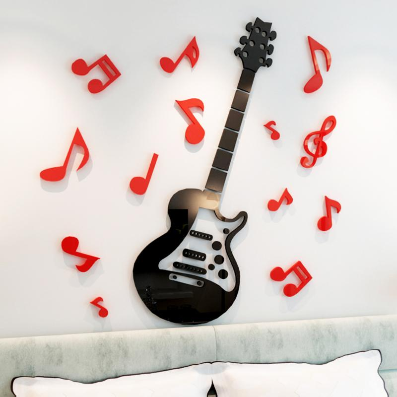 Guitar acrylic 3d crystal wall stickers Child room living room DIY Art wall decor Cartoon music Room notes wall stickers