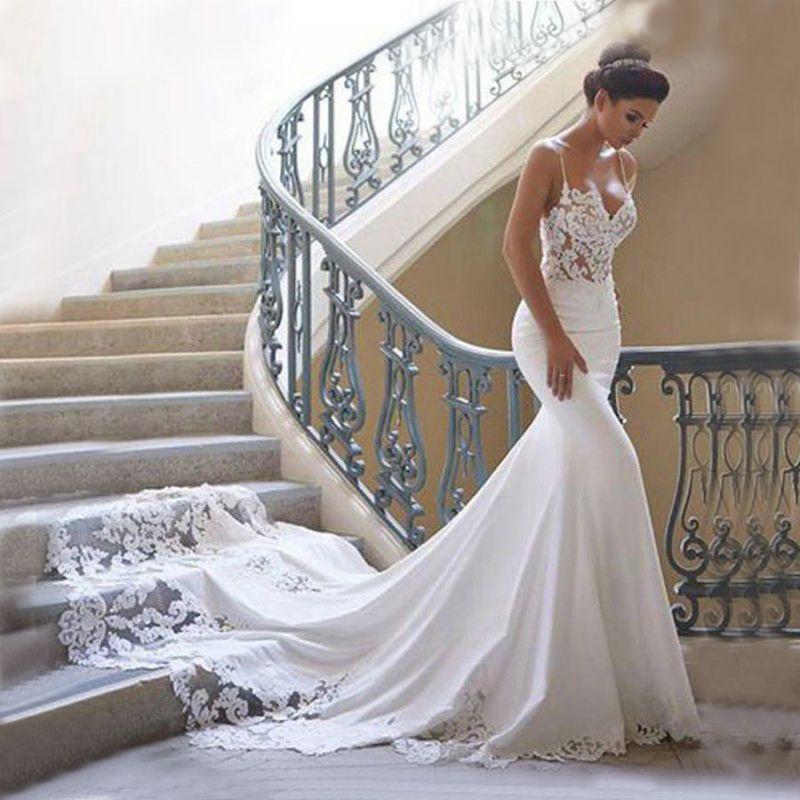 인어 웨딩 드레스 소매 Vestidos 드 노비 빈티지 레이스 연인 목 웨딩 드레스 등이없는 웨딩 드레스
