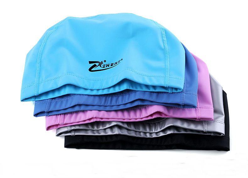 Erwachsene Männer / Frauen 2020 elastische wasserdichte PU-Stoff Protect Ears Langes Haar Sport Badekappen Hohe dehnbare Pool Kappen