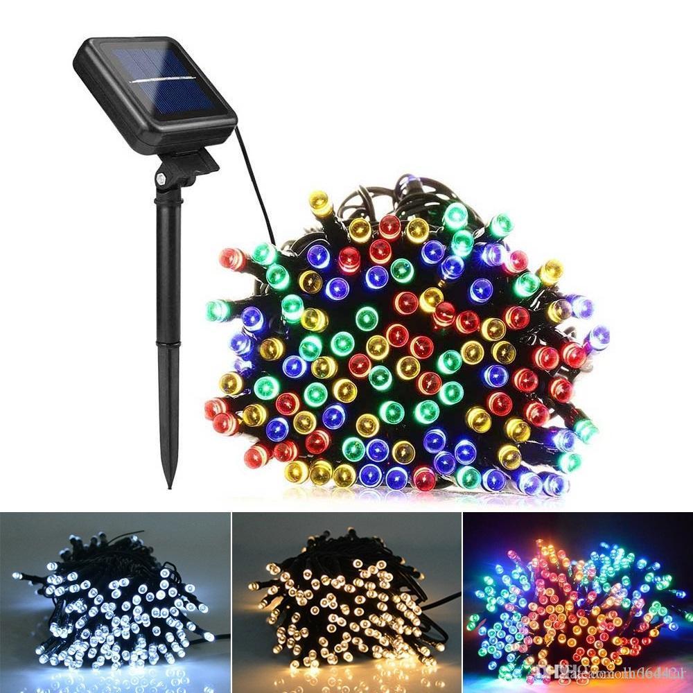 LED 태양 빛 50/100/200LED 문자열 정원 훈장 가벼운 정원외 방수 크리스마스 랜 문자열