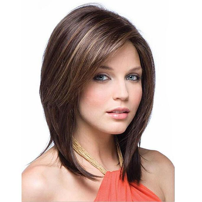 Yeni stil orta Uzun Saç peruk düz peruk kahverengi saç peruk