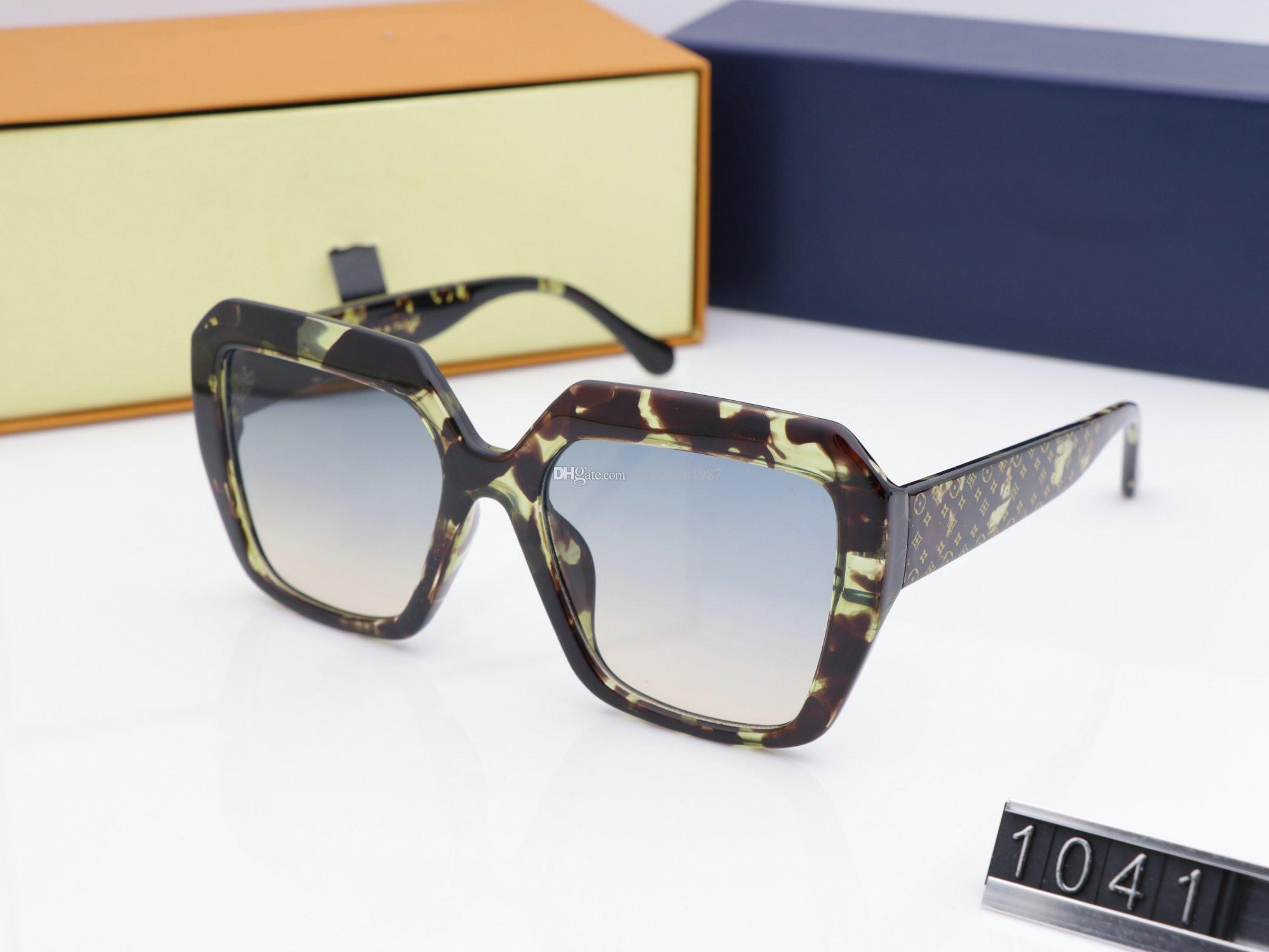 Las mujeres de lujo Lentes de sol 1041 Plank Clásico Piloto envolver Gafas de sol retro generoso gafas de protección UV400 vienen con el caso
