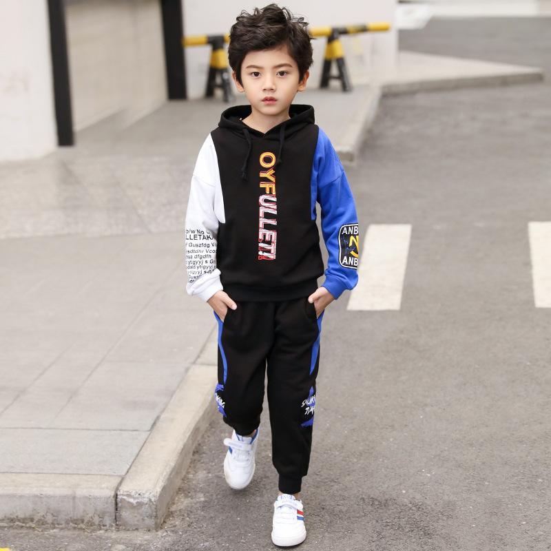 Due pezzi Abbigliamento per bambini Pants Boy Autunno Sport invernali maglione + allentato pantaloni della tuta Nuova sportivo cappotto del rivestimento Pantaloni 5Y-12Y