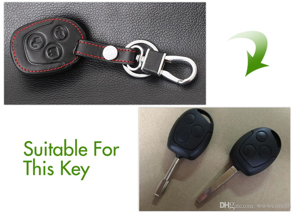 Thie2e 3 кнопки удаленный кожаный автомобиль FOB ключевой чехол для Ford Focus Mondeo Festiva Fusion Site Fiesta KA Holder Protector