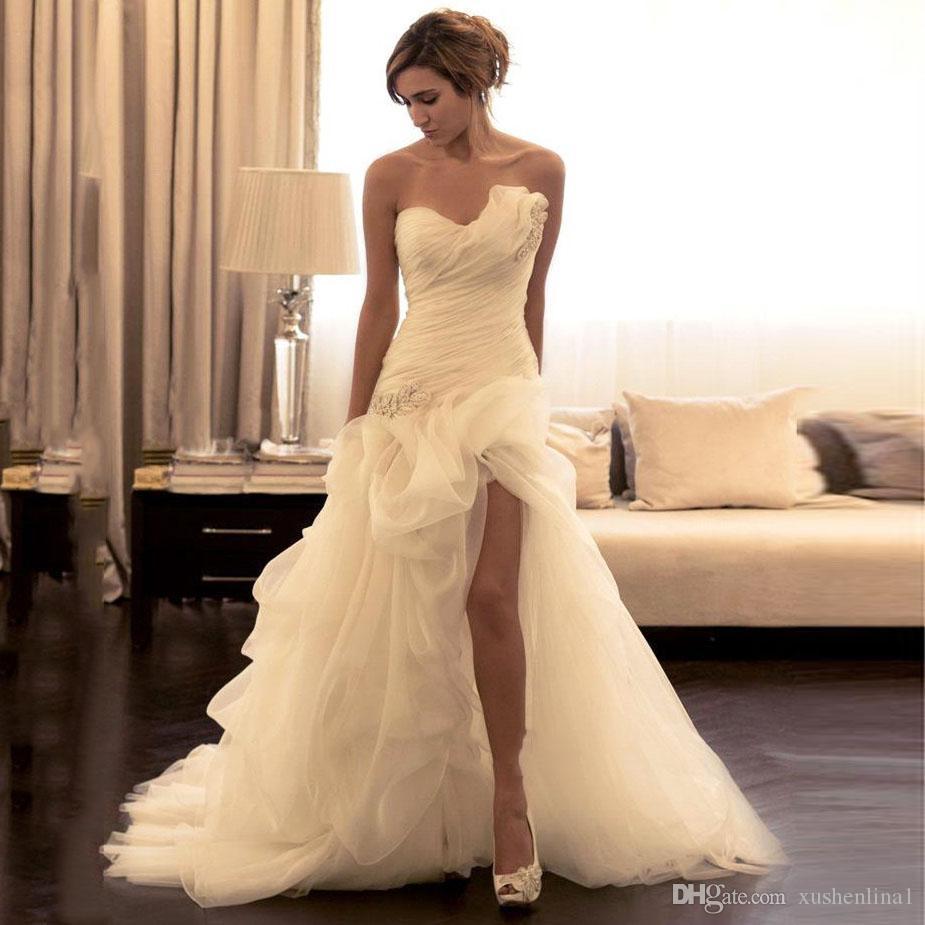Fashion High Low Wedding Dress Leg Split Mermaid Bride Maxi Gown Short Front Long Back Strapless Bridal Dress Custom Made Puffy Organza Gown