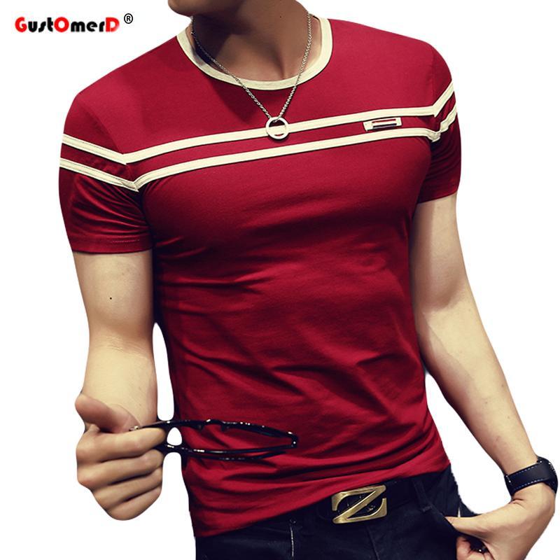 Футболка Мужская сплошная цветная футболка Мужская модная футболка с короткими рукавами в полоску Slim Fit Повседневная футболка Man