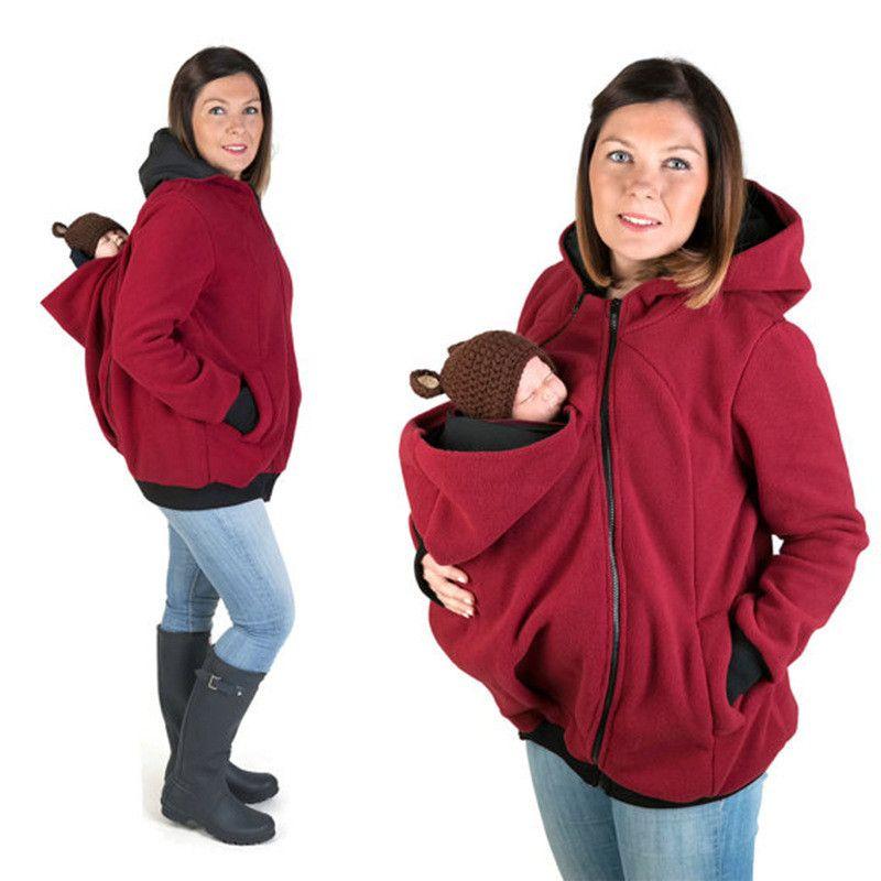 Утолщенная беременность шерстяной ватуруют материнские толстовки для беременных Детские носители куртки Kangaroo Верхняя одежда толстовки толстовки мода с капюшоном пальто новый