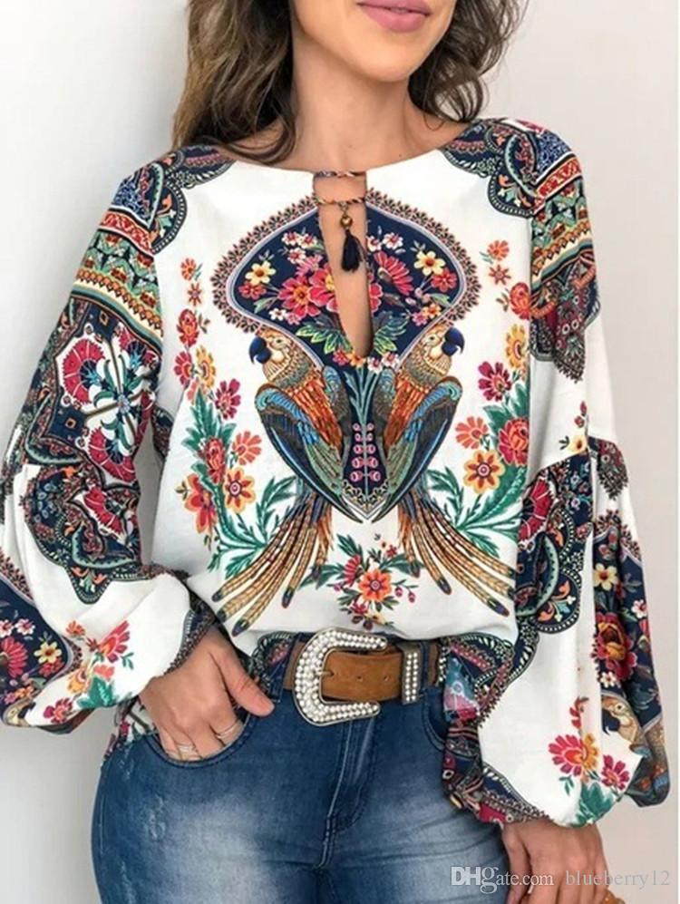 بالإضافة إلى حجم النساء بلوزة الصيف قمم عارضة الأزهار طباعة blusa فانوس كم أعلى طباعة فضفاض البلوز س الرقبة أعلى بلوزة