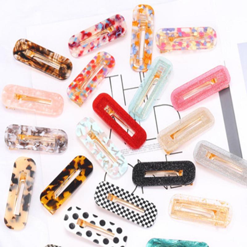 Las mujeres de la jalea de las horquillas de la horquilla Bangs dulces clip de chica simples pinzas para el cabello de etilo temperamento geométricos del ácido acético GHN36