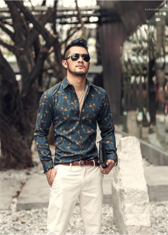 Diseñador ocasional camisa de la impresión de moda de manga larga solapa del cuello Hombre Ropa Slim Fit Camisa para hombre de Nueva Primavera