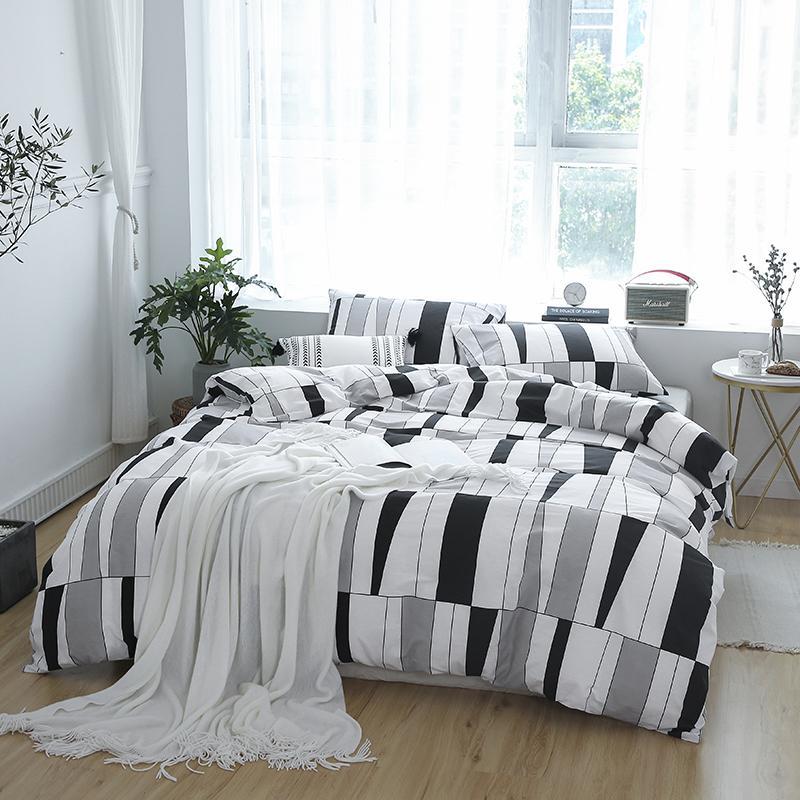 North European Style Grey white plaid 3/4pcs reactive printed duvet cover flat sheet pillowcase set 100% cotton bedding sets