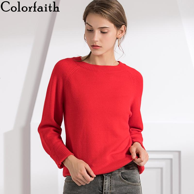 Colorfaith New 2019 camisolas pulôver coreano estilo minimalista das Mulheres Outono-Inverno Casual Sólidos Office Lady Red Tops SW7077MX191008