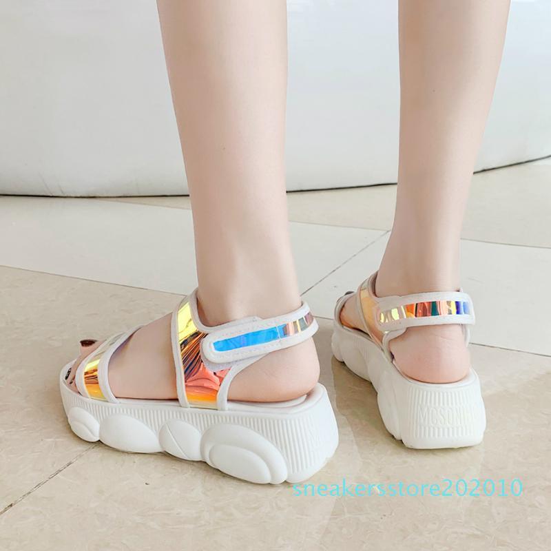 Más el tamaño 34-46 de las mujeres de las sandalias 2020 Nueva Moda Casual zapatos Bling cuñas de la hebilla de la correa de los zapatos de plataforma de 5 cm de verano sandalias s10