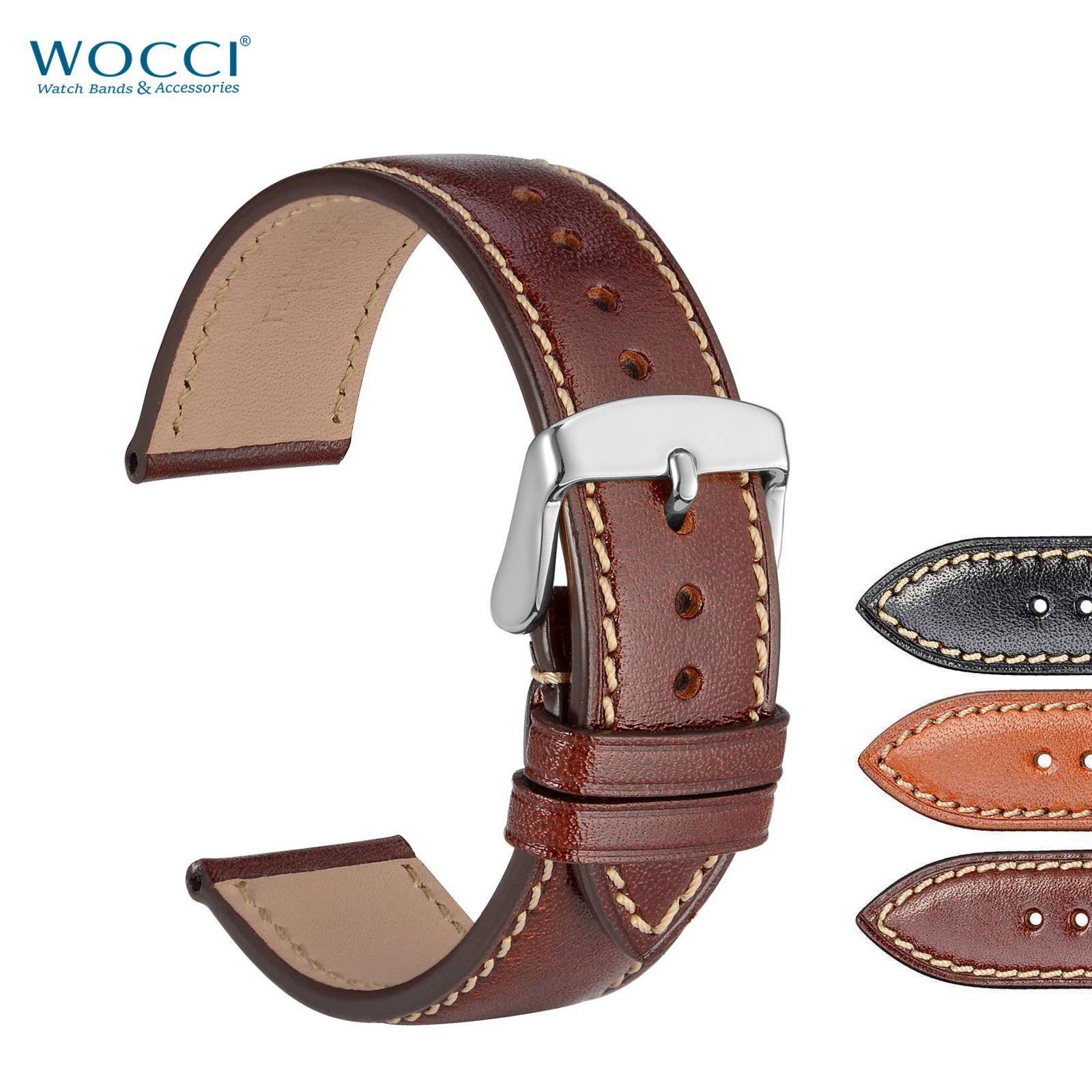 WOCCI italiana capa superior de piel de becerro correas de reloj de pulsera para hombres banda de reloj de la correa de las mujeres anchura de la pulsera 22m 18mm 20mm