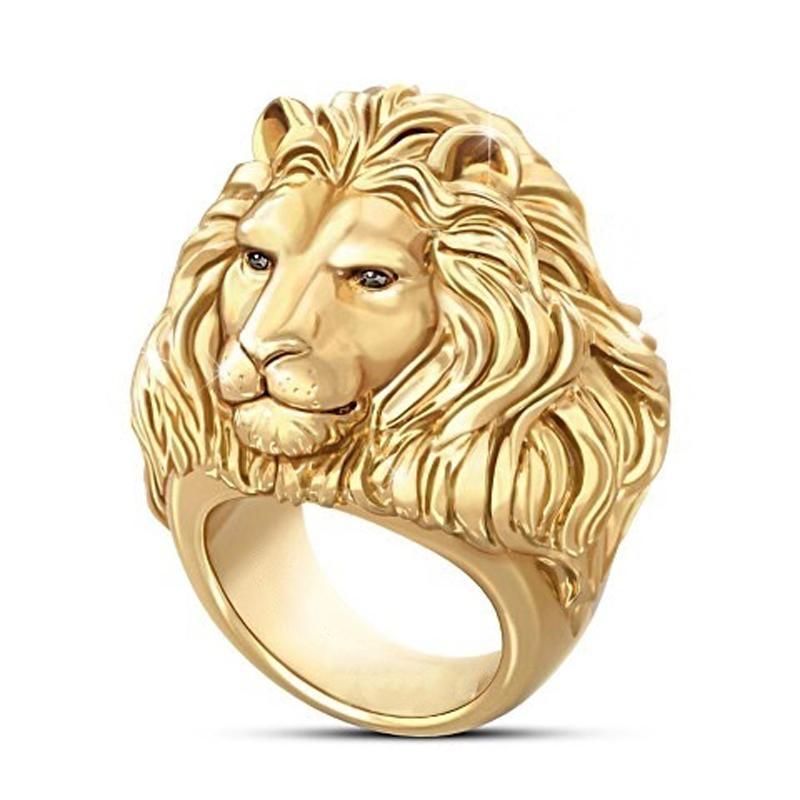 Hip Hop Moda Mengyi Roca anillo de oro para los hombres animales del dedo joyería de los anillos del motorista del punk masculino