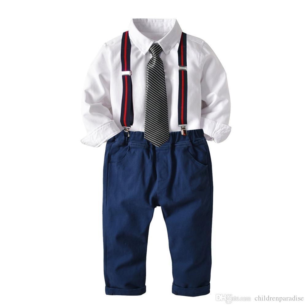Bebek Erkek Resmi Takım Elbise Çocuklar Uzun kollu Turn-over Gömlek Yelek Uzun Pantolon Papyon Beyefendi Suit Bebek 1Y 6Y Doğum Günü Partisi Set
