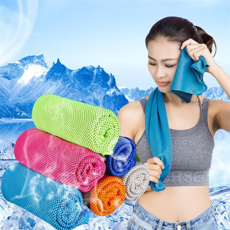 90 * 30cm doppio strato di ghiaccio di raffreddamento del tovagliolo Estate Sport Esercizio fredda Asciugamani 90 * 30cm Quick Dry Ice Cold Washcloth tovagliolo freddo Ipotermia