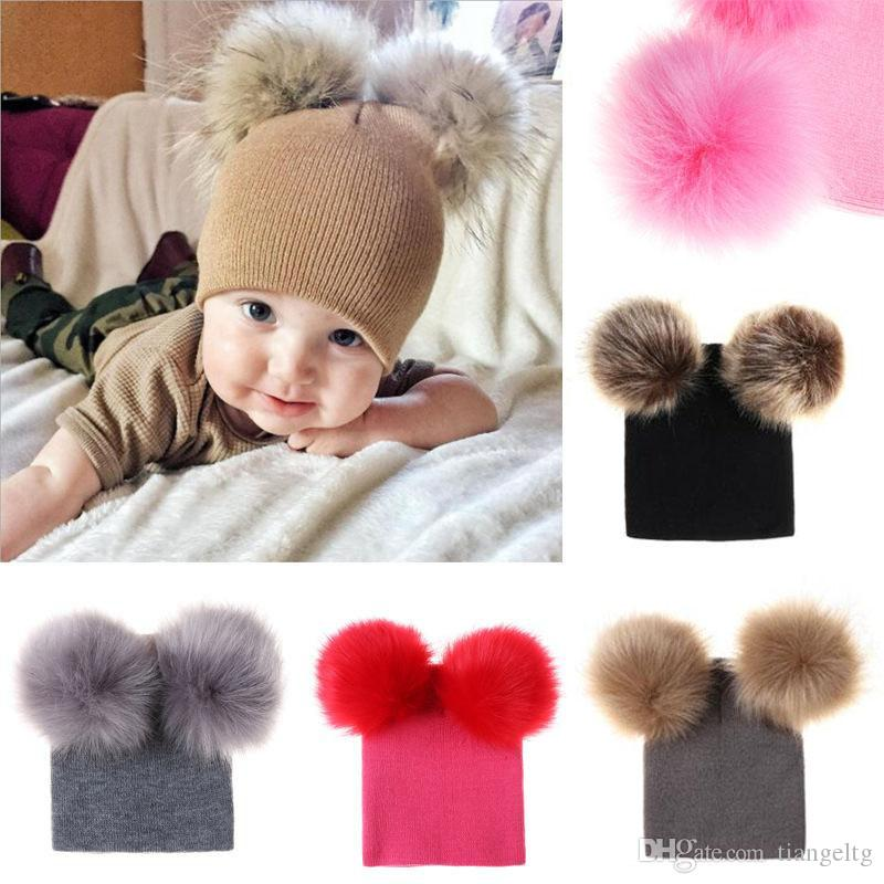 Baby Girls Knitted Pompon Hats 6 Designs Girls INS Kinnted Wool Winter Toddler Boys Kids Hats Brief Pompon Warm Hats 04