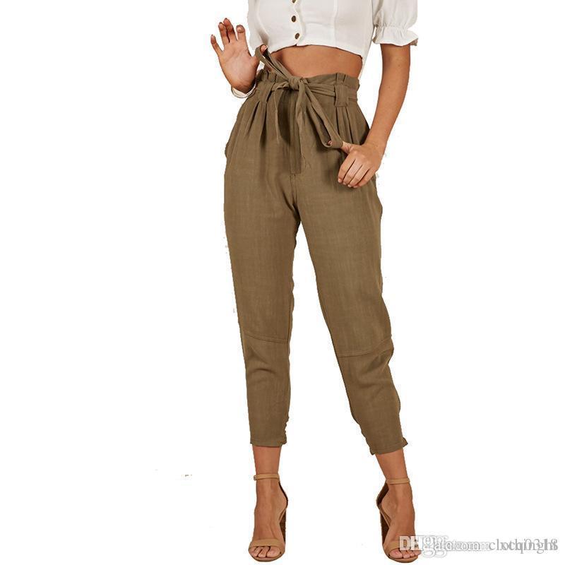 Compre Tela 2019 Mujeres Harem Pantalones Elegantes Ol De Talle Alto Con Cordon Lapiz Pies Correa Femenina De La Vendimia De Las Bragas Pantalones Largos A 17 12 Del Clothinght Dhgate Com