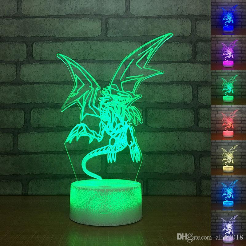 유 승기 오 블루 아이즈 화이트 드래곤 3D 테이블 램프 터치 컨트롤 아크릴 나이트 라이트 USB 장식 어린이 선물을 변경 7 색