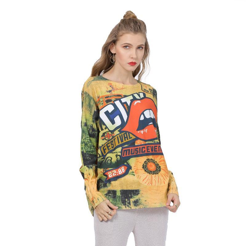 كبير الحجم المرأة ذات أكمام طويلة مطبوعة منتصف طول سترة الأعلى الطباعة الأزياء البلوز جيرسي