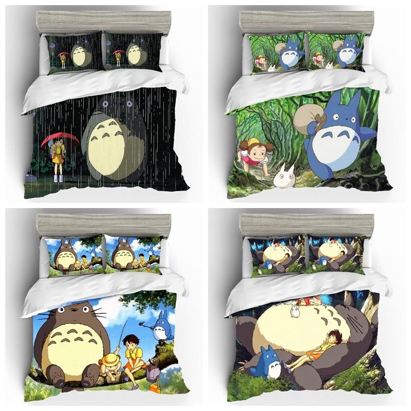 Cartoon Totoro Comforter Bedding Sets 3D king Size Bedding Set Luxury Single Bedclothes For Summer Bed Sheets Duvet Cover Bed T200615