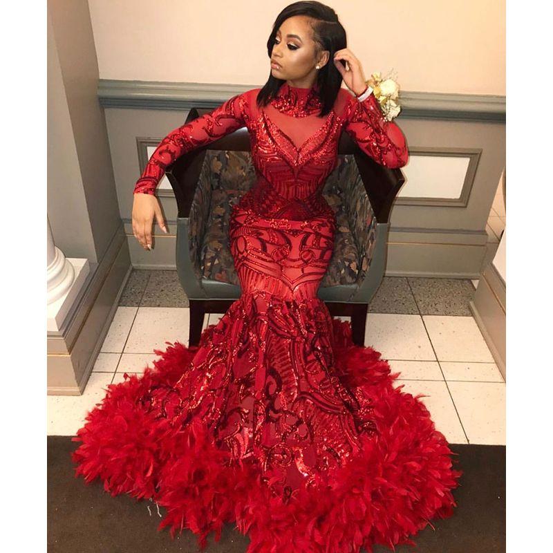 Красный Русалка Пром Платья 2019 Новый Длинный Рукав Длиной До Пола С Блестками Высокая Шея Вечернее Платье Вечерние Платья