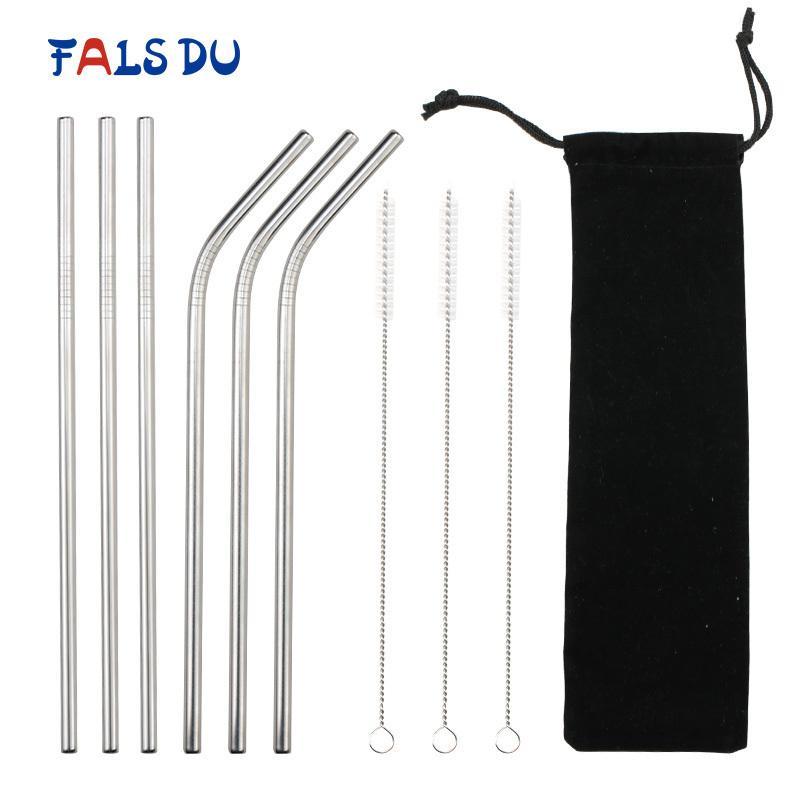 6pcs paille à boire en acier inoxydable résistant droite métal coudé en acier inoxydable paille ensemble pour tasses Party Bar accessoires